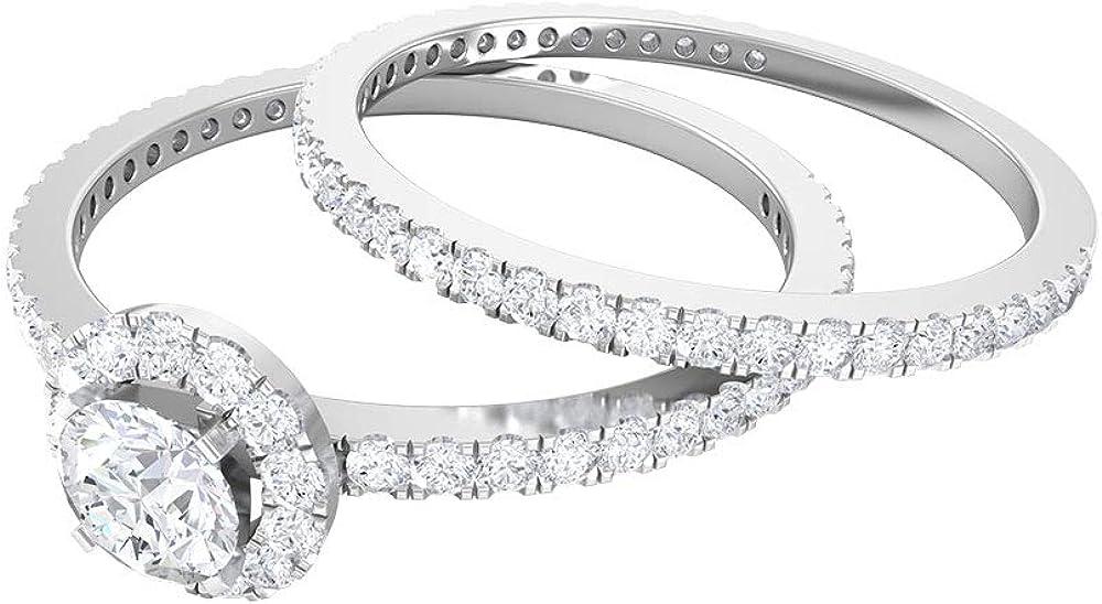 4.00 MM Solitaire Halo Ring, D-VSSI Moissanite Eternity Band, Gold Wedding Ring Set 14K White Gold