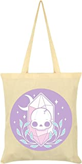 Skull Crystal Tote Bag Cream 38 x 42cm