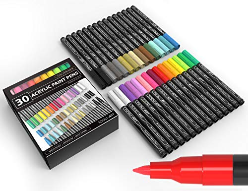 TOOLI-ART Paint Pens Acrylic Markers 30 Set 0.7mm Extra Fine Tip for Rock, Canvas, Most Surfaces. Non Toxic, Water-based, Quick Drying