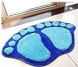 Fendii - Adorable alfombra, alfombrilla, azul para habitación, tapete para baño de felpa, antideslizante, con forma de pie
