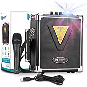 HIKEP Portable Bluetooth Karaoke Machine with USB Disco Lights, Wireless PA Speaker System with Microphone for Kids & Adults Party Halloween Christmas Gift