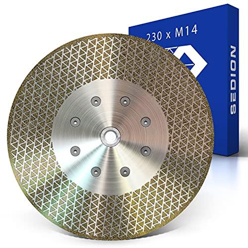 SEDION ® Disco de corte de diamante 230mm x M14 - Disco de corte y desbaste para azulejos duros cerámica gres porcelánico granito mármol hormigón etc. - Disco de corte de diamante 230