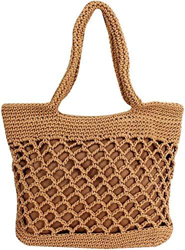 Women Small Cotton Crochet Handbag Top-handle Bag Summer Beach Bag 12.6x4.7x9.8in/32x12x25cm