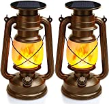 Vintage Lantern Solar Powered, Flickering Flame Solar Lantern Outdoor Hanging LED Night Lights Decorative Candle Lantern for Camping Garden Patio Deck Yard Path, 2 Pack