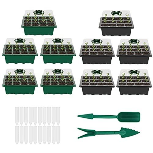 Souarts 10 Stücke Zimmergewächshaus Anzuchtkasten, Mini Gewächshaus Anzuchttöpfe Anzuchtschalen Anzucht Set, Treibhaus mit Gartengeräte und Pflanzenetikett
