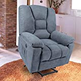 oneinmil Electric Power Lift Recliner Chair, Linen Recliners for Elderly, Home Sofa Chairs with Heat & Massage, Remote Control, 3 Positions, 2 Side Pockets and USB Ports, Blue Grey