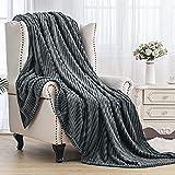 SE SOFTEXLY Striped Fleece Blankets, Soft Warmer Throw Blankets for All Season, Lightweight Microfiber Flannel Blanket Suit for Home Bed, Sofa & Dorm(Grey, 50'x60')