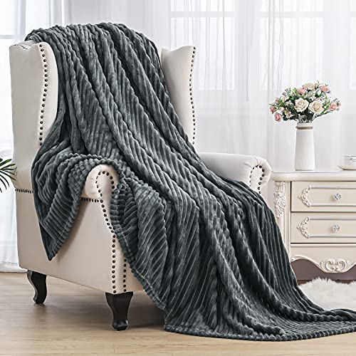 "SE SOFTEXLY Striped Fleece Blankets, Soft Warmer Throw Blankets for All Season, Lightweight Microfiber Flannel Blanket Suit for Home Bed, Sofa & Dorm(Grey, 50""x60"")"