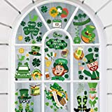 95 Pcs St.Patrick's Day Window Decals Clings, 8 Sheets Lucky Shamrock Hat Remove Window Sticker for St.Patrick's Day Decorations Lucky Clover Window Stickers for Irish Party Decorations