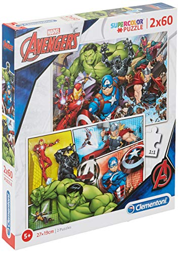 Clementoni- 2 Puzzles 60 Piezas The Avengers, Color Multicolor. (21605.5)