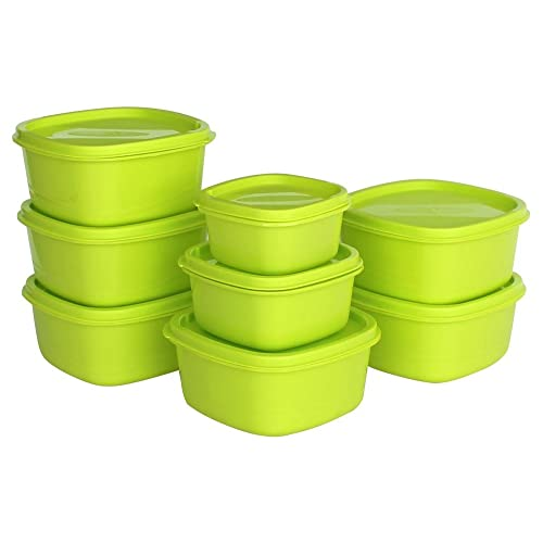 Princeware Plastic Storage Container Set, 8-Pieces, Green