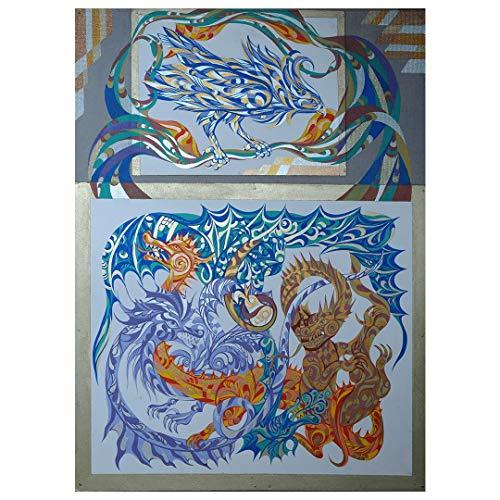 Artastate - La Pera Del Discord - Pintura al temple pintada a mano, Pintura pintada a mano sobre tabla de madera (aglomerado), Decoración de paredes