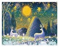 大人のための数字によるDIYペイント子供のための数字でクリスマスペイント8-12女の子初心者クリスマスホームルームの装飾フレームレス、鹿Xingxing (Size : 30x40cm)