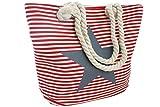 Sonia Originelli Tasche Shopper Strandtasche rot Stern grau gestreift Streifen Kordel Seil pink...