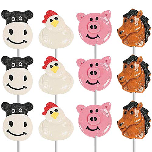Farm Animals Lollipops Suckers, Cow, Rooster, Horse, Pig, Fat-Free, Individually Wrapped (12-Pack)