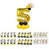 Unishop Cumpleaños Globos Foil Metálico Globo Número Gigante Oro Plata Globos para Fiesta de Cumpleaños Aniversarios Globos Numeros para Cumpleaños Fiesta Decoración (Oro 5)