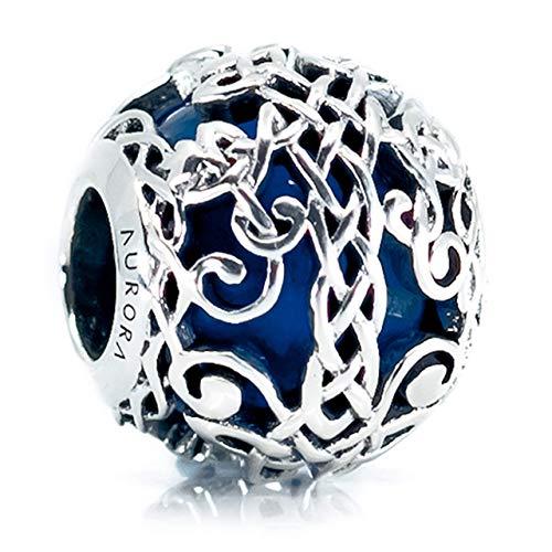 Blue Murano Glass & Sterling Silver Irish Celtic Tree of Life/Family Tree Charm S925, Irish Celtic Eternal Knot Silver Charm Bead, Irish Family Bonds pendant Charm, fits Pandora