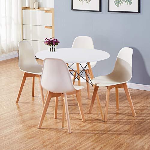GOLDFAN Runder Esstisch mit 4 stühlen Moderner Esstisch Rund Matt Lackierter Küchen 4er Set Esszimmerstuhl für Esszimmer Büro Wohnzimmer, Weiß