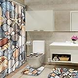 ZHJC Set de alfombras de baño 180x180cm Colorido Cortina de baño de época Ducha WC Cubierta Estera de la Playa del Estilo de la Estera de baño Decoración de baño (Color : Gris, Size : One Size)