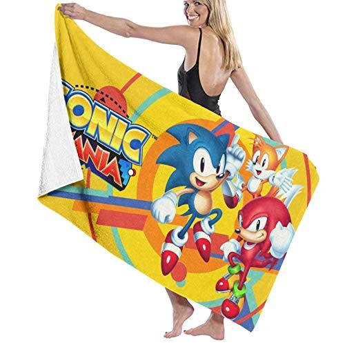 Sonic The Hedgehog - Toallas de baño 100% algodón, súper suaves, corte por un lado, fácil cuidado, natación, piscina, yoga, viajes