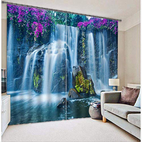 RR-CZY 2 Panels Curtains, 3D Waterfall Blackout Curtains, Drapes For Living Room Bed Room Hotel Office W126 x L85 (320 x 215cm)