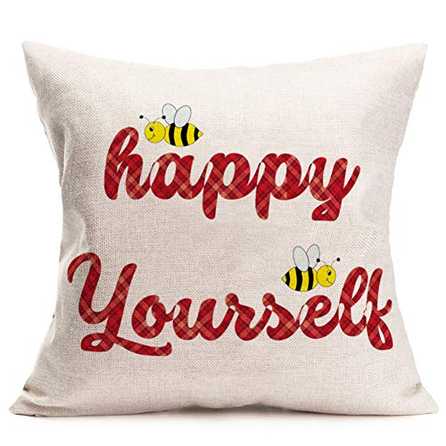Aremetop Bee Quotes Throw Pillow Covers Farmhouse Decorative Bumblebee with Buffalo Plaid Happy Yourself Inspirational Words Cushion Decor Cotton Linen 18x18 Inch Lumbar Pillow Cushion Case