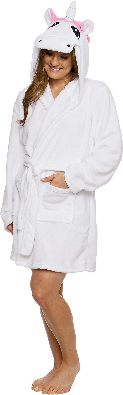Silver Lilly Unicorn Hooded San New arrival Francisco Mall Robe - Plush Short Women's Ba Animal