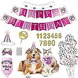 Ubaywey 29 PCS Set de Cumpleaños para Perro Decoracion de Cumpleaños para Perros Sombrero Pañuelo Banner de Cumpleaños para Perros Regalo Set de Cumpleaños para Mascotas (Rosa)