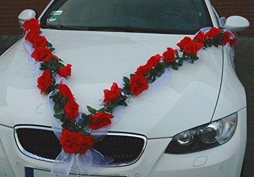 ROSEN GIRLANDE Auto Schmuck Braut Paar Rose Deko Dekoration Autoschmuck Hochzeit Car Auto Wedding Deko (Rot / Weiß)