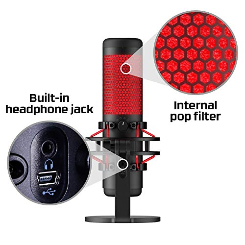 HyperX HX-MICQC-BK QuadCast – Standalone Microphone for streamers, content creators and gamers PC, PS4, and Mac, Black, One Size