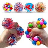 Stress Balls for Kids and Adults 4 squishies Balls Water Bead Stress Balls Sensory Ball Squeezing Ball Squishy Ball Toys Set for Anxiety Autism ADHD and More