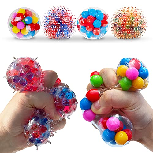 Stress Balls for Kids and Adults 4 squishies Balls Water Bead Stress Balls Sensory Ball Squeezing...