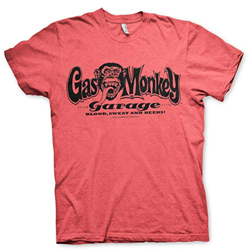 Gas Monkey Garage Oficialmente Licenciado Logo Camiseta para Hombre (Rojo-Heather), X-Large