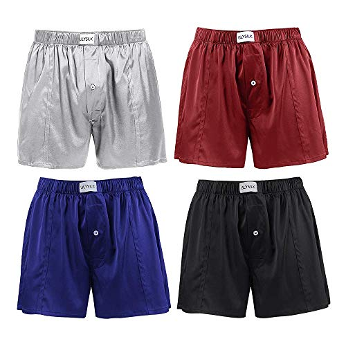 LilySilk 4PACK Silk Boxers Mens Breathable Real Mulberry Underwear Silk Sleep Pajama Shorts Combo Pack Lounge Bottoms Black+Blue+Red+Grey M