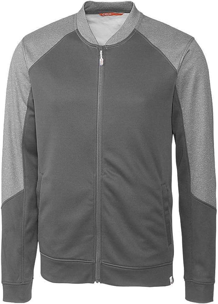 CBUK Men's Pop Fly Colorblock Heathered Fleece Full Zip Bomber Jacket