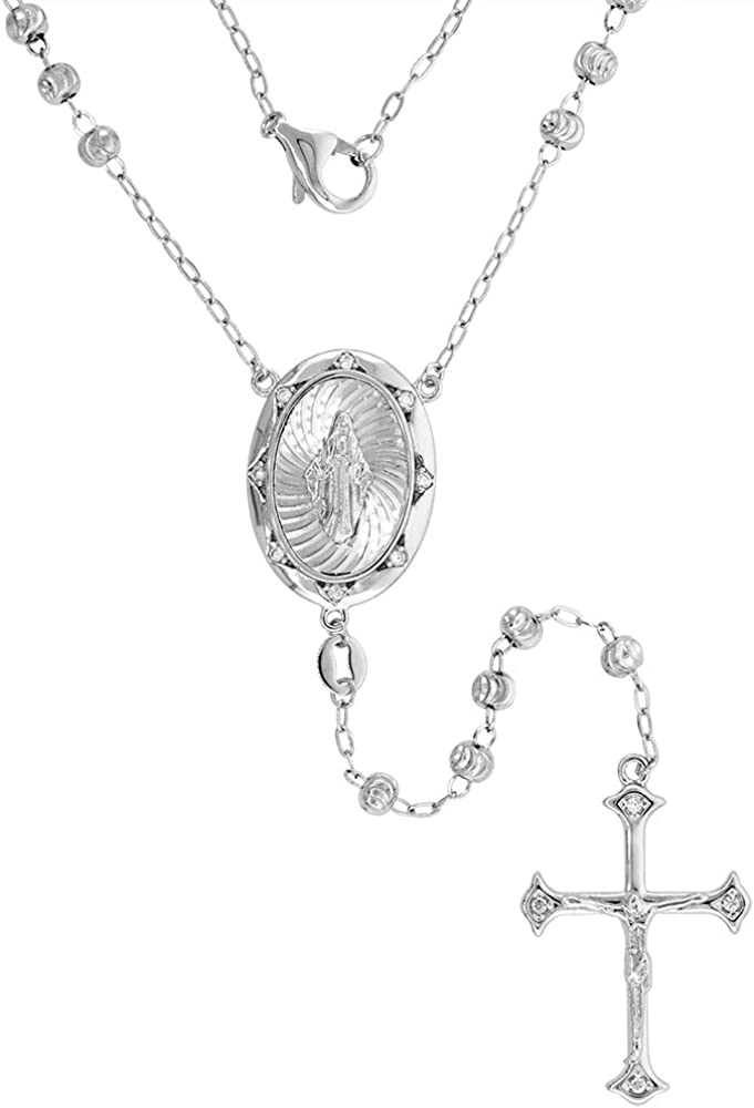 Sterling Silver Ranking TOP10 Cubic Zirconia Rosary Small Necklace CZ Credence Crucifix