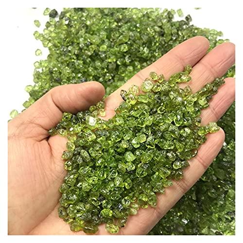 MUYANDZ Cristal 100 g 2-4mm Piedra Natural Perido Cuarzo Olivine Green Crystal Mineral Espécimen Chip DE Roca Grava Raugh Piedra Preciosa decoración (Color : 100g 2-4mm)
