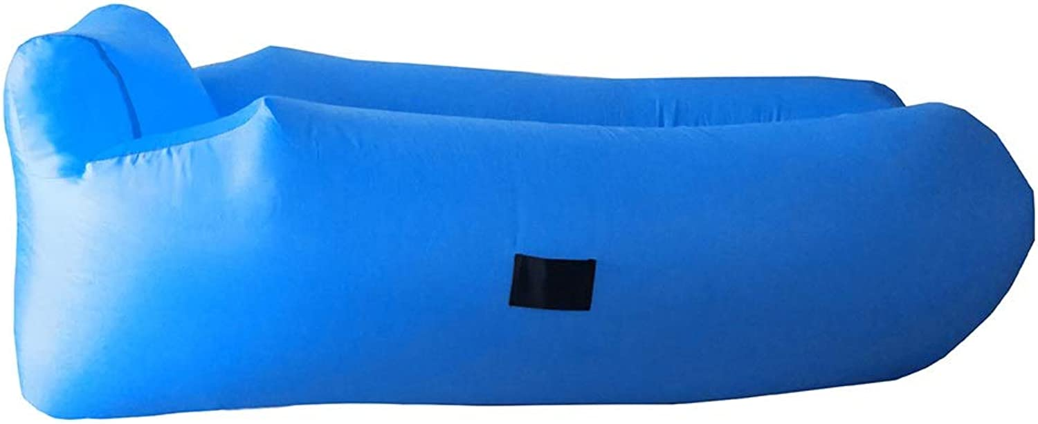 Inflatable Lounger Foldable Air Sofa,Water Proof& Anti-Air Leaking Design-Ideal Couch for Backyard Lakeside Beach Traveling Camping Picnics & Music Festivals (color   bluee)