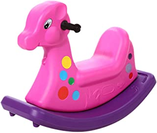 Rocking horse Children's Wooden Horse Indoor Plastic Kindergarten Wooden Horse Toy (Color : Purple)