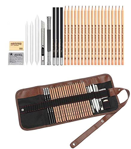 Sketch Drawing Pencil Set, Student Sketching Pencils Set Painting Pencils with Eraser Canvas Pencil Pouch, Drawing Pencil Kit Sketch Tool Kit for Beginners Painter Artist Drawing Lovers