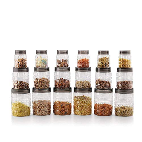 Cello Checkers Plastic Pet Canister Set, 18 Pieces, Clear & Cello Singapore Plastic Storage Shelf, Ivory Brown