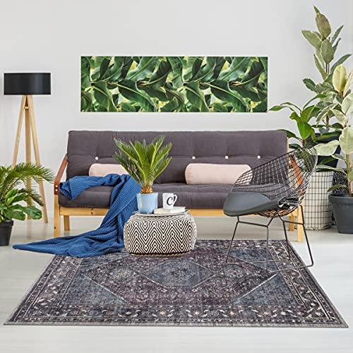 Jadorel Teppich Design und Modern, 150 x 230 cm, rechteckig, Gashgai, Vintage, Grau, für Fußbodenheizung geeignet