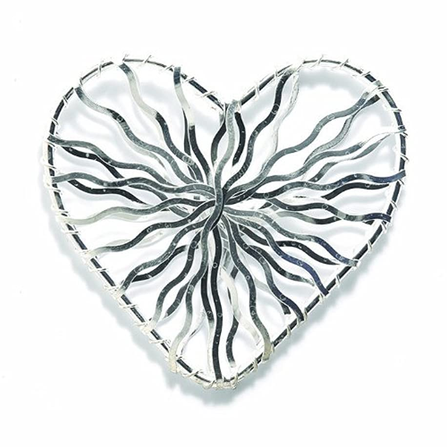 Shipwreck Beads Zinc Alloy Handmade Wire Wrapped Heart Bead, 47 by 51mm, Silver, 10-Pack