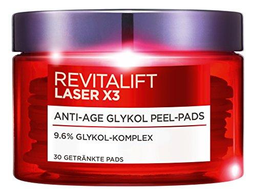 L'Oréal Paris Revitalift Laser X3 Anti-Age Glykol Peeling Pads, mit hochdosierter Glykolsäure, mildert Falten und sorgt für eine ebenmäßige Haut, 30 Pads