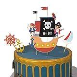 SUNBEAUTY Pirat Kuchendeko Piraten Kuchendeckel Tortenaufsatz Piratenparty für Geburtstag Junge (1 Pirat Kuchendeko)