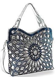 Blue Double Handle Starburst Bling Handbag