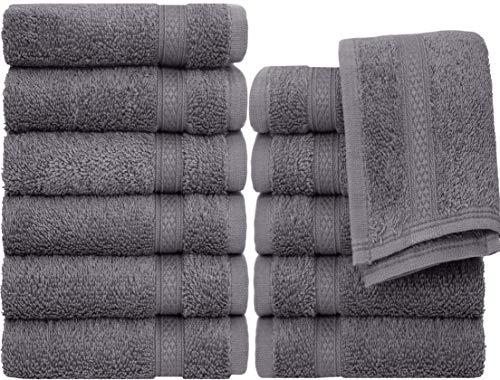 "Pleasant Home Wash Cloths Set  12 Pack – 13"" x 13""  100% Cotton  520 GSM  Soft amp Absorbent Grey"