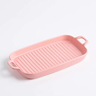 Ceramics Rectangular Baking Dishes with Handle for Oven Baking Pan, Lasagna Casserole Pan for Cooking, Kitchen, Cake Dinne...