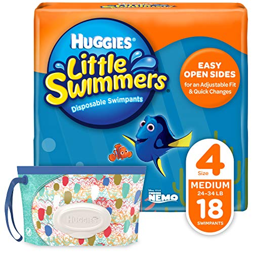 Huggies Little Swimmers Disposable Swim Diapers, Swimpants, Size 4 Medium (24-34...