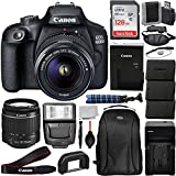 Canon International EOS 4000D DSLR Camera with EF-S 18-55mm f/3.5-5.6 III Lens & Deluxe Accessory Bundle - Includes: SanDisk Ultra 128GB Memory Card, 2X Seller Replacement LPE10 Batteries, Much More